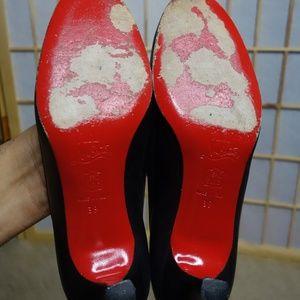 4de76cba3a Christian Louboutin Shoes - Louboutin Black Bow Kitten Heel Red bottoms 39  vtg